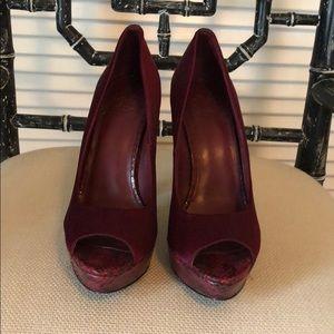 Tory Burch Snakeskin burgundy satin heels 7